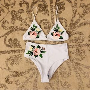 Other - Brand New Floral Embroidered Bikini Set